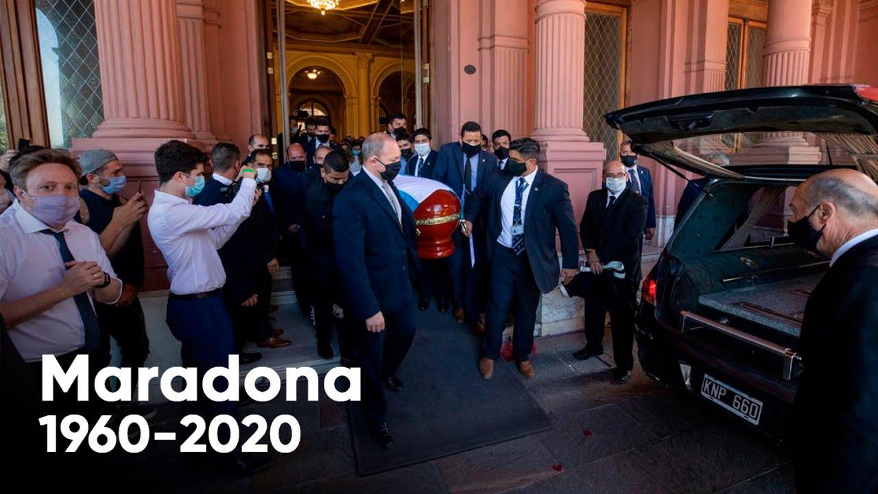 ¡Chau campeón! Acompañado por una multitud, así salía el cortejo fúnebre de Maradona de Casa Rosada