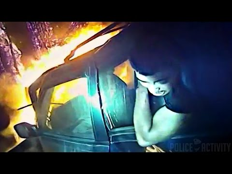 Bodycam Shows Cop Save Man Trapped in Burning Car