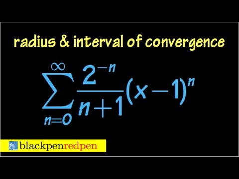 Radius and interval of convergence of a power series, using ratio test, ex#1