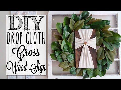 DIY Drop Cloth Cross Wood Sign | No-Sew