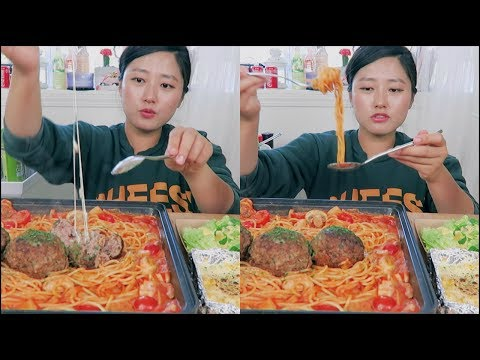 Cheesy Meatball Spaghetti Mukbang! ft. Ground Beef