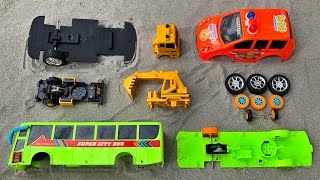 Assemble Orange NOAH Police Car , Excavator Truck and Super City Bus | Toy Vehicles Attached