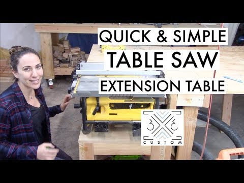 Fold Down Table Saw Extension Table // Quick and Easy // Outfeed Table // Woodshop