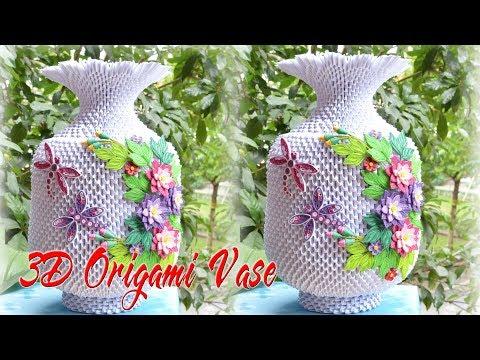 3D Origami Flower Vase V3 Tutorial | cómo hacer flor de origami 3d florero
