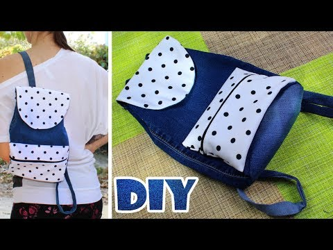 DIY JEANS BACKPACK TUTORIAL OLD JEANS RECYCLE IDEA INTO BACKPACK