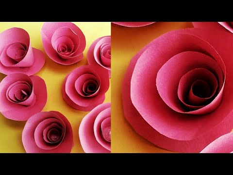 big Paper flower diy - making of paper rose just 2 minutes | spiral rose | roll  (hindi)