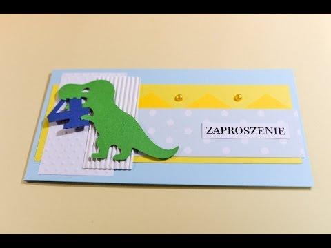 How to Make - Birthday Invitation Card Dinosaur - Step by Step | Zaproszenie Z Dinozaurem