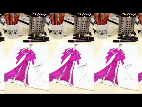 Ingredients of a Fashion Sketch: How to Draw a Batwing Gown