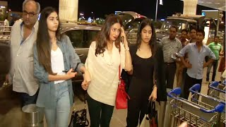 Sridevi with her family at Mumbai Airport leaving for IIFA Awards 2015.