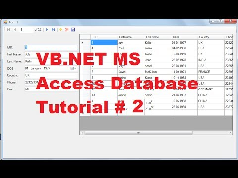 VB.NET MS Access Database Tutorial 2 # Add New ,Remove ,Save Data in Database using VB.NET