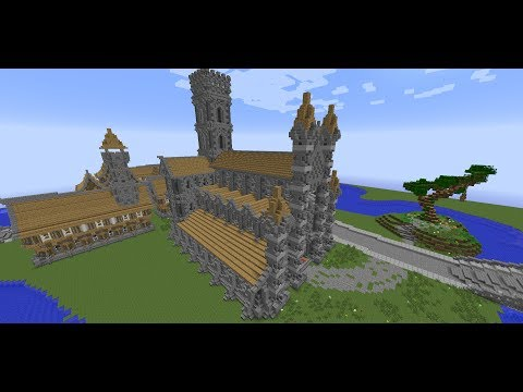 Minecraft Medieval Builds- Medieval Church/Cathedral Tutorial- Part 5 of 5- Front