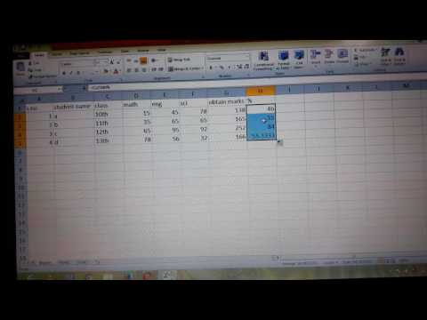 Basic excel sheet of percentage Result and grade marks of any class