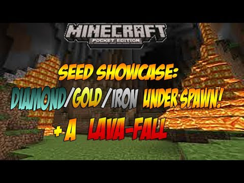 DIAMOND,GOLD AND IRON UNDER SPAWN! AND A LAVAFALL! - Minecraft PE 0.8.1 Seed Showcase
