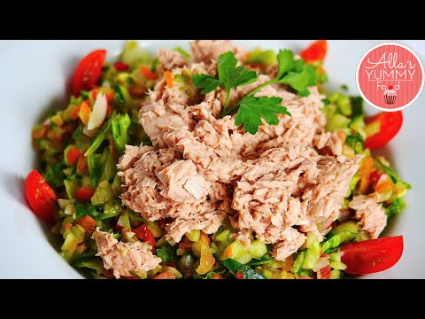 How to Make Tuna Salad - Quick & Healthy Salad Recipe - Овощной салат с тунцом