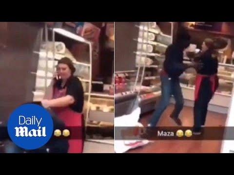 Moment man brazenly steals from Greggs Bakery in London - Daily Mail
