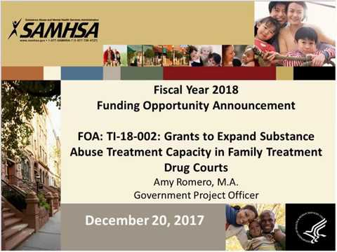 FOA: TI-18-002: Grants to Expand Substance Abuse Treatment Capacity in Family Treatment Drug Courts