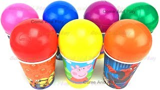 Cups and Balls Surprise Toys Minions Disney Pixar Cars Superhero TMNT Learn Colors Play Doh Kids
