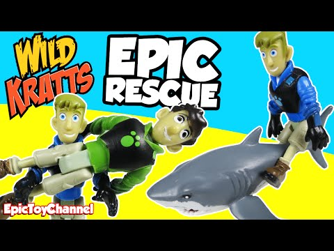 WILD KRATTS Toys Chris Saves Martin in EPIC Rescue Shark Wild Kratt Creature Power Epic Toy Channel