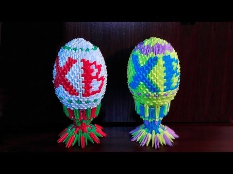 3D origami Easter egg with text master class tutorial