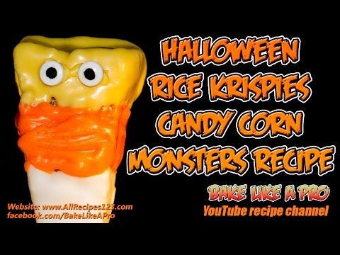 Halloween Rice Krispies Candy Corn Monsters Recipe