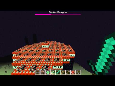 Defeating the Ender Dragon on creative mode of Minecraft!