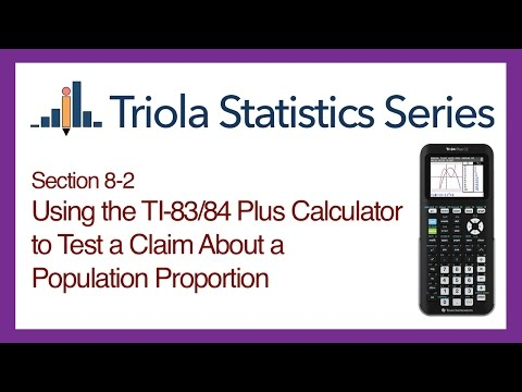 TI 83/84 Section 8-2: Using the TI-83/84 to Test a Claim About a Population Proportion