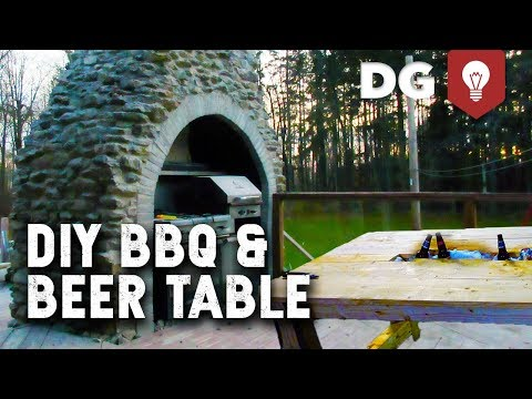 Custom DIY Beer Cooler Picnic Tables & BBQ Fireplace