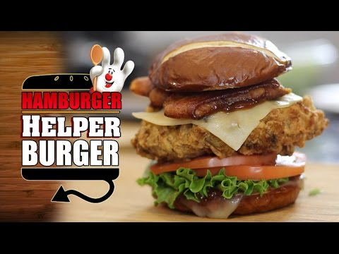Deep Fried Hamburger Helper Burger