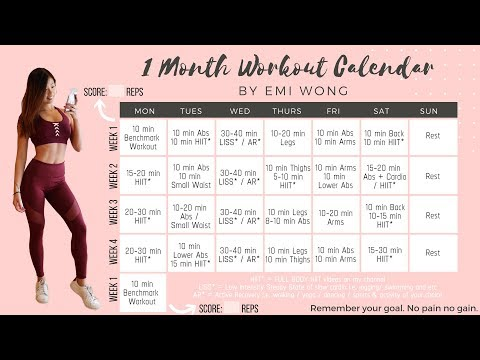 ONE MONTH WORKOUT PLAN TO LOSE WEIGHT AND GET FIT! + 10 min FAT BURNING HIIT Full Body Workout