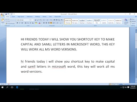 Shortcut Key to Make Capital & Small Letters In MS Word