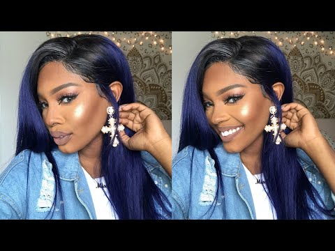 NAVY BLUE HAIR 💙 How I Install LACE FRONT Wigs! - LAZY GIRL METHOD   Ft. DivasWigs.com