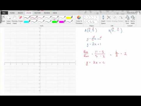 Equations of straight lines from two coordinates