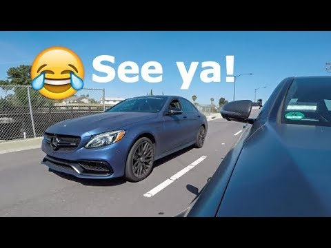 630hp Mercedes C63 AMG Thinks He's Faster LOL!