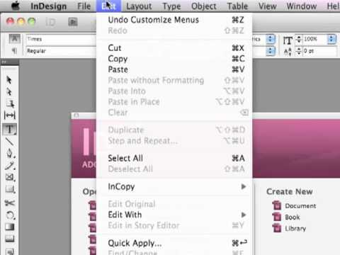 Adobe InDesign CS5.5 - Create a Custom Workspace