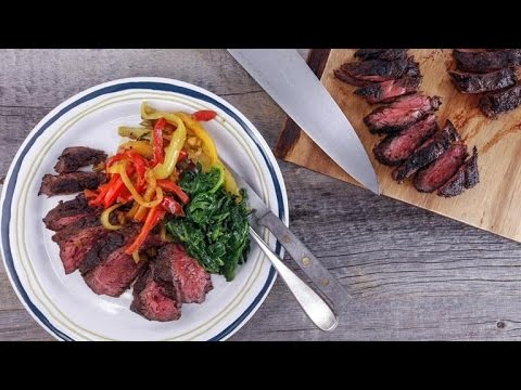How to Cook Hanger Steak with Pepperonata and Garlicky Spinach