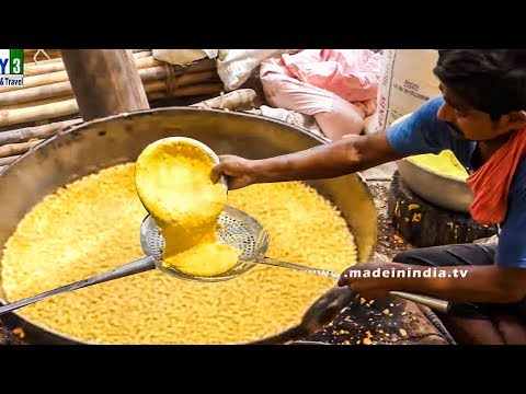 VILLAGE STYLE KARA BOONDI MAKING | SMALL BALL SHAPED GRAM FLOUR  FRITTERS street food