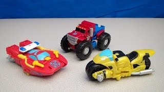 RESCUE BOTS TRANSFORMERS OPTIMUS PRIME BUMBLEBEE AND HEATWAVE VIDEO TOY REVIEW