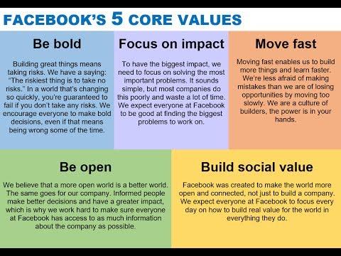 Facebook's 5 core values via Mark Zuckerberg & Sheryl Sandberg