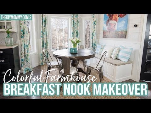 Colorful Farmhouse Breakfast Nook Makeover