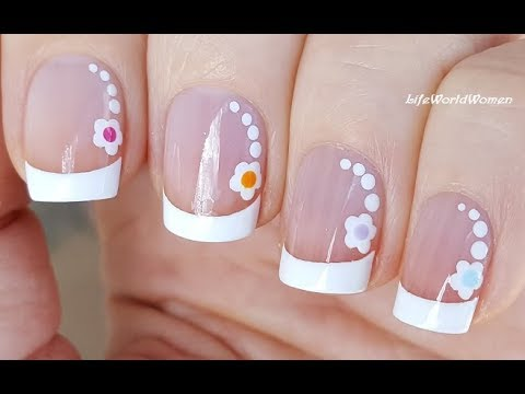 FRENCH MANICURE ON SHORT NAILS With Dotting Tool Flowers