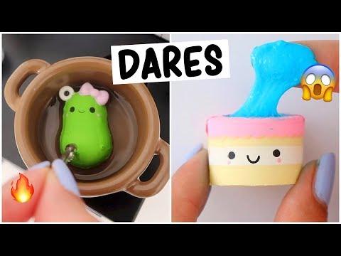 EXTREME MINI SLIME & SQUISHY DARES?! *making egg slime*