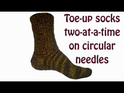 Toe up socks two at a time on circular needles Turkish cast on