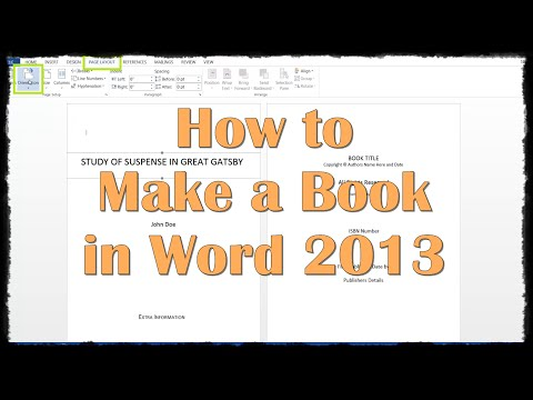 How to Make a Book in Word 2013