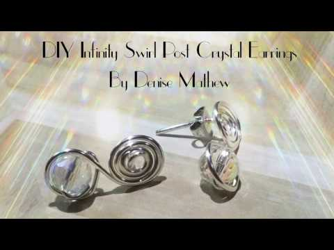 DIY Swirl Infinity Crystal Post Earrings Tutorial by Denise Mathew