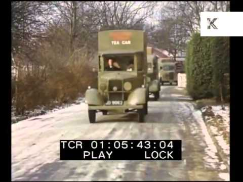 Colour Footage YMCA Tea Vans, Soldiers Take a Tea Break, 1940s UK