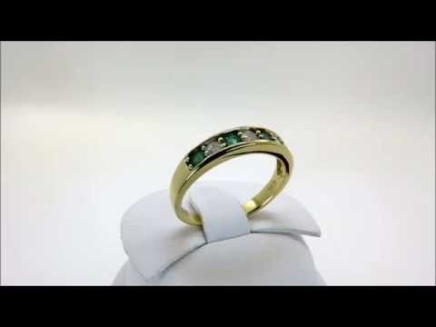18ct Yellow Gold Diamond + Emerald Half Eternity - Dress Ring Size O 1/2 (00227)