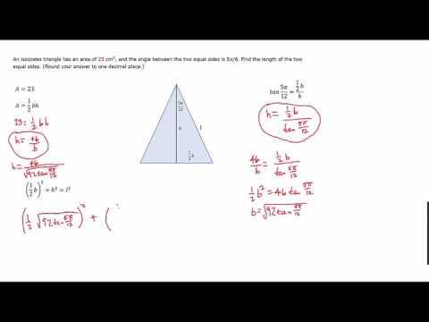 length of leg isosceles triangle given angle and area