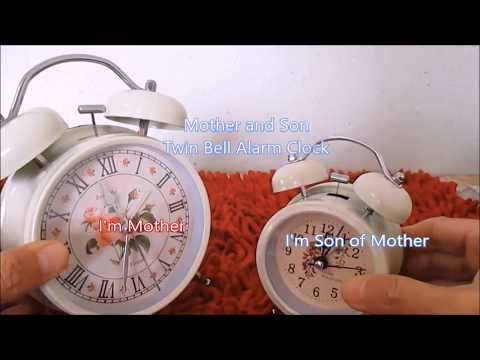MOTHER AND SON TWIN BELL LOUD ALARM CLOCK CALLING HEAVY SLEEPERS