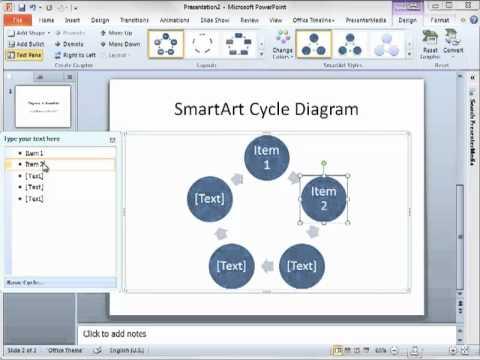 Create Diagrams in PowerPoint 2010 using SmartArt