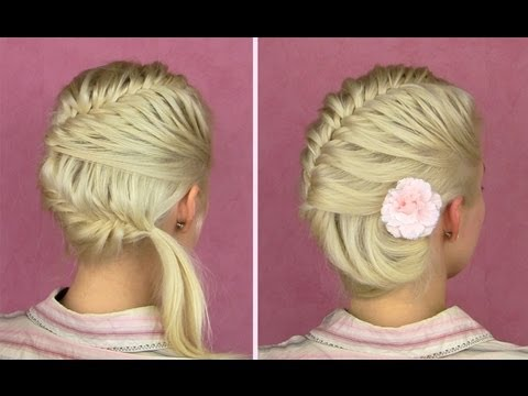 French fishtail braid tutorial Prom seashell updo for medium long hair Seitlich flecht frisur